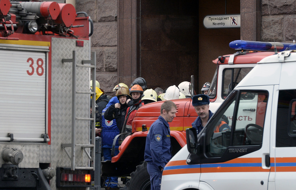 . Emergency services personnel and vehicles are seen at the entrance to Technological Institute metro station in Saint Petersburg on April 3, 2017. Around 10 people were feared dead and dozens injured Monday after an explosion rocked the metro system in Russia\'s second city Saint Petersburg, according to authorities, who were not ruling out a terror attack. (OLGA MALTSEVA/AFP/Getty Images)