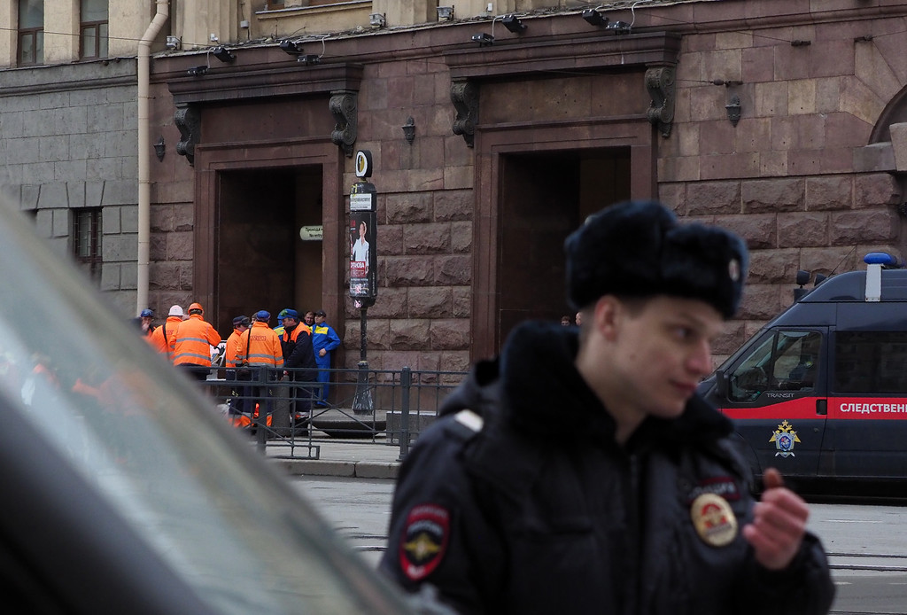 . A police officer stands guard at the entrance to Technological Institute metro station in Saint Petersburg on April 3, 2017. About 10 people were killed and several more injured Monday after an explosion rocked the metro system in Russia\'s second city Saint Petersburg, according to authorities, who were not ruling out a possible terror attack.  (RUSLAN SHAMUKOV/AFP/Getty Images)