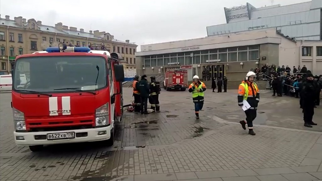 . In this image taken from video footage, emergency services work outside Sennaya Square metro station in St Petersburg, Russia, Monday, April 3, 2017.  At least 10 people were killed Monday in an explosion on the subway in St. Petersburg, Russian news agencies reported. (AP Photo)