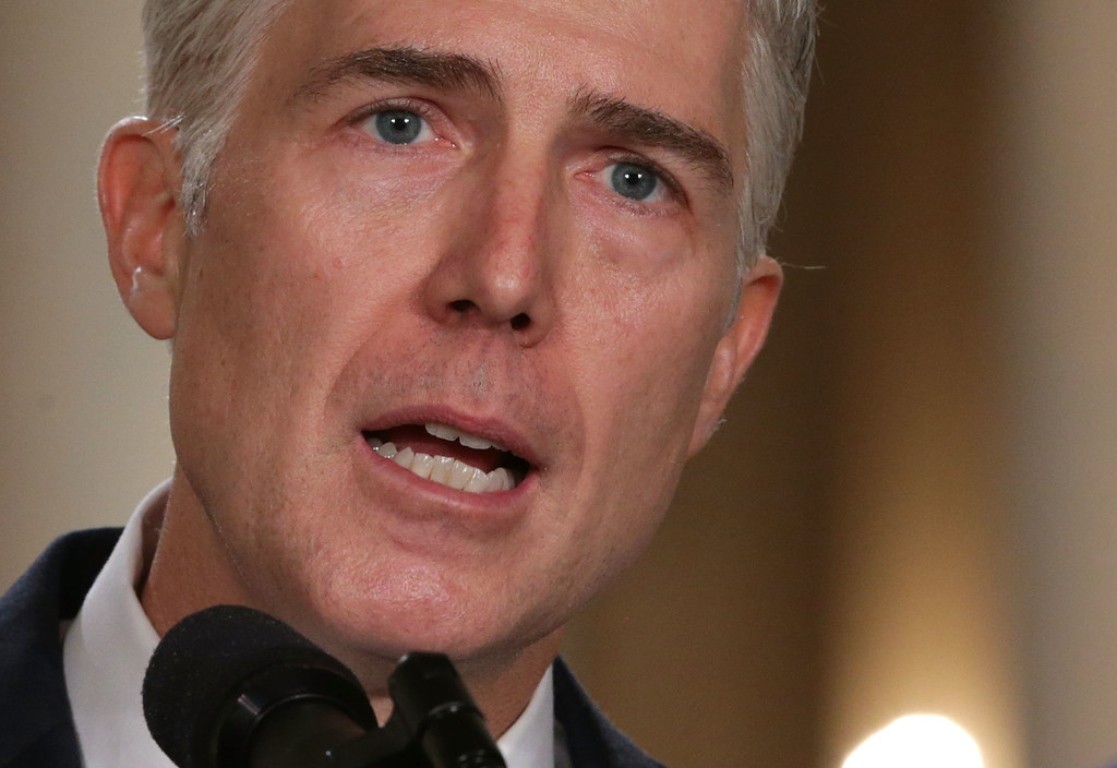. WASHINGTON, DC - JANUARY 31:  Judge Neil Gorsuch speaks to the crowd after U.S. President Donald Trump nominated him to the Supreme Court during a ceremony in the East Room of the White House January 31, 2017 in Washington, DC. If confirmed, Gorsuch would fill the seat left vacant with the death of Associate Justice Antonin Scalia in February 2016.  (Photo by Alex Wong/Getty Images)