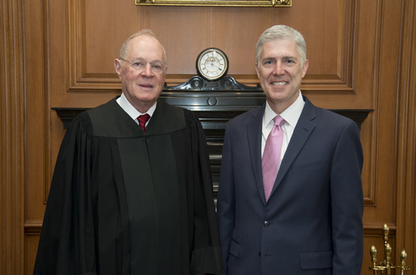 . WASHINGTON, DC - APRIL 10: Justice Anthony Kennedy (L) poses with Neil Gorsuch during a private ceremony where Chief Justice John G. Roberts, Jr., administered the Constitutional Oath to the Honorable Neil M. Gorsuch in the Justices Conference Room at the Supreme Court Building on April 10, 2017 in Washington, DC. Gorsuch is the 113th Supreme Court justice. (Photo by Franz Jantzen/Supreme Court of the United States via Getty Images)