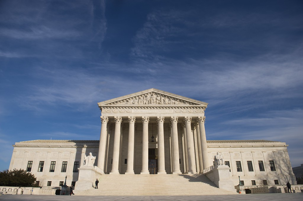 . The US Supreme Court is seen in Washington, DC, on January 31, 2017. President Donald Trump was poised Tuesday to unveil his pick for the US Supreme Court, a crucial appointment that could tilt the bench to conservatives on deeply divisive issues such as abortion and gun control. Trump\'s choice aims to fill a vacancy left by the sudden death of conservative justice Antonin Scalia in February 2016, which left the highest US court with four conservative and four liberal justices. (SAUL LOEB/AFP/Getty Images)