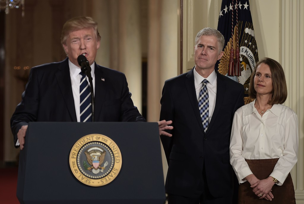 . Judge Neil Gorsuch (C) and his wife Marie Louise look on, after US President Donald Trump nominated him for the Supreme Court, at the White House in Washington, DC, on January 31, 2017. Trump named Judge Neil Gorsuch as his Supreme Court nominee. (BRENDAN SMIALOWSKI/AFP/Getty Images)