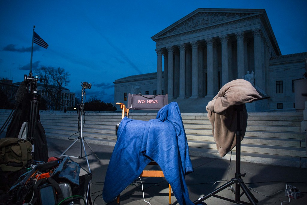 . Television news equipment is pictured in front of the United States Supreme Court in Washington, DC, on January 31, 2017, before President Donald Trump announces his nominee to fill the seat of former Associate Justice of the Supreme Court Antonin Scalia.   President Donald Trump was poised to unveil his pick for the US Supreme Court, a crucial appointment that could tilt the bench to conservatives on deeply divisive issues such as abortion and gun control. (ZACH GIBSON/AFP/Getty Images)