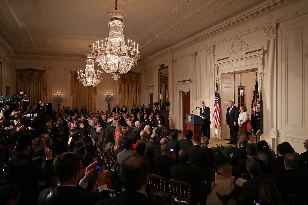 . WASHINGTON, DC - JANUARY 31:  Judge Neil Gorsuch delivers brief remarks after being nominated by U.S. President Donald Trump to the Supreme Court during a ceremony in the East Room of the White House January 31, 2017 in Washington, DC. If confirmed, Gorsuch would fill the seat left vacant with the death of Associate Justice Antonin Scalia in February 2016.   (Photo by Chip Somodevilla/Getty Images)