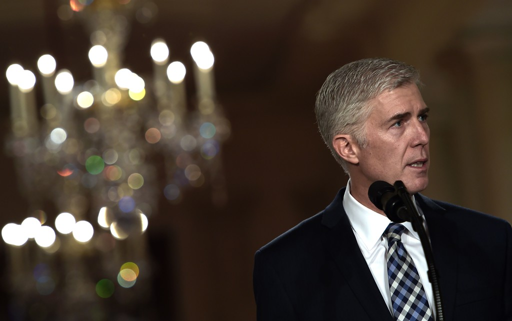 . Judge Neil Gorsuch speaks, after US President Donald Trump nominated him for the Supreme Court, at the White House in Washington, DC, on January 31, 2017. President Donald Trump on nominated federal appellate judge Neil Gorsuch as his Supreme Court nominee, tilting the balance of the court back in the conservatives\' favor. (BRENDAN SMIALOWSKI/AFP/Getty Images)