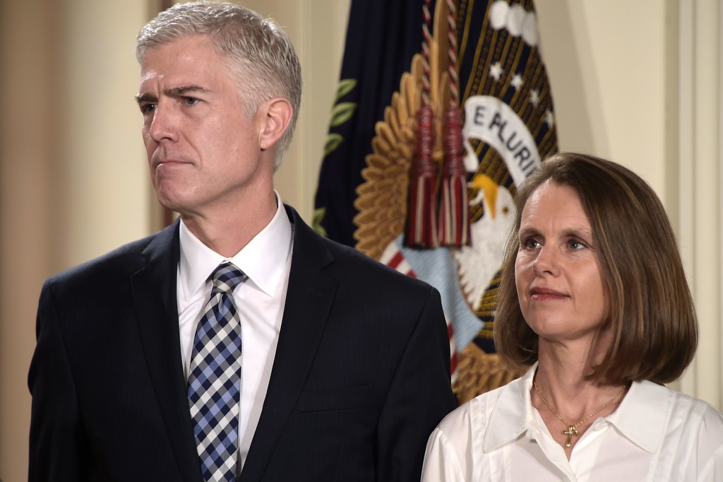 . Judge Neil Gorsuch (L) and his wife Marie Louise look on, after US President Donald Trump nominated him for the Supreme Court, at the White House in Washington, DC, on January 31, 2017. Trump named Judge Neil Gorsuch as his Supreme Court nominee. (BRENDAN SMIALOWSKI/AFP/Getty Images)