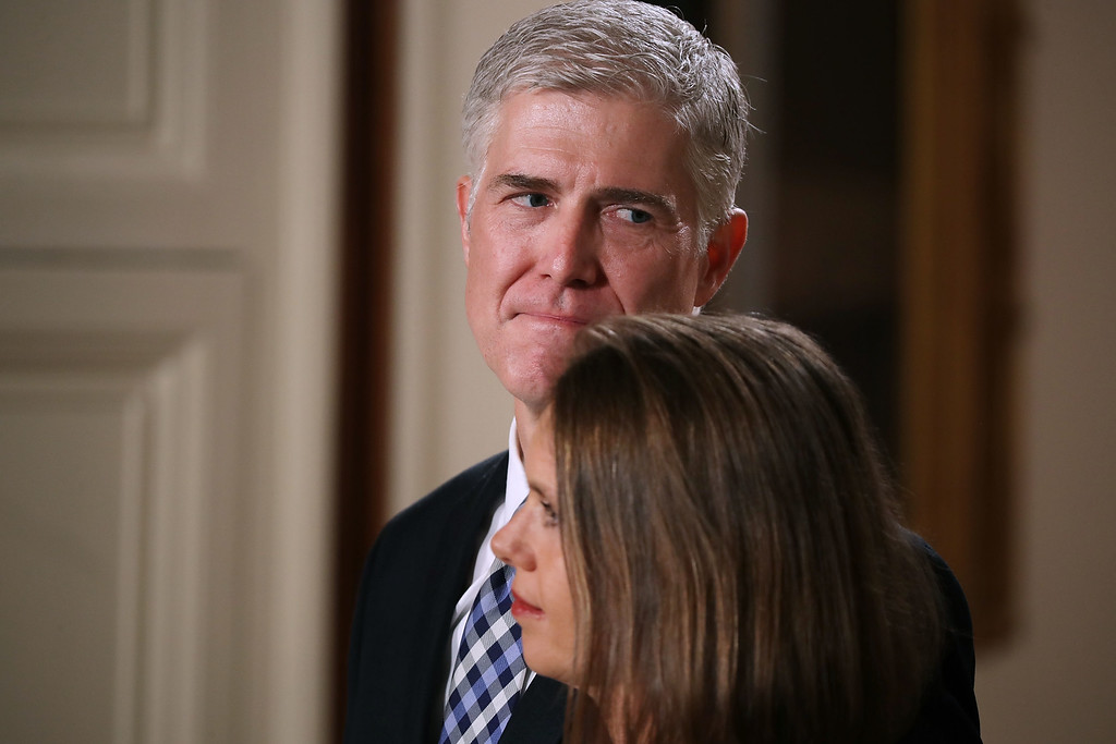 . WASHINGTON, DC - JANUARY 31:  Judge Neil Gorsuch stands with his wife Marie Louise Gorsuch at the announcement by U.S. President Donald Trump of Gorsuch\'s nomination to the Supreme Court during a ceremony in the East Room of the White House January 31, 2017 in Washington, DC. If confirmed, Gorsuch would fill the seat left vacant with the death of Associate Justice Antonin Scalia in February 2016.  (Photo by Chip Somodevilla/Getty Images)