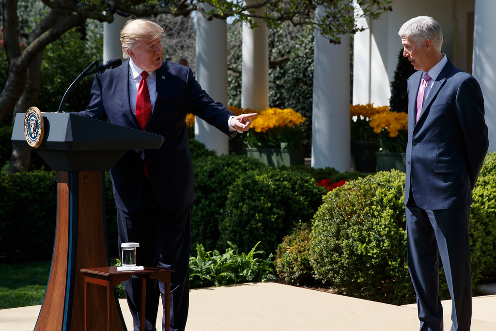 . President Donald Trump speaks in the Rose Garden of the White House White House in Washington, Monday, April 10, 2017, during a public swearing-in ceremony for Supreme Court Justice Neil Gorsuch. (AP Photo/Evan Vucci)