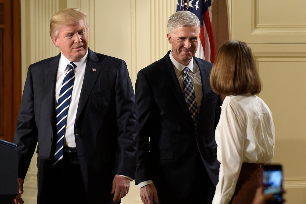 . President Donald Trump announces 10th U.S. Circuit Court of Appeals Judge Neil Gorsuch as his choice for Supreme Court Justice during a televised address from the East Room of the White House in Washington, Tuesday, Jan. 31, 2017. (AP Photo/Susan Walsh)