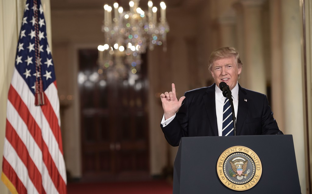 . US President Donald Trump speaks as he announces his nominee to the Supreme Court at the White House in Washington, DC, on January 31, 2017. President Trump named Judge Neil Gorsuch as his Supreme Court nominee. (BRENDAN SMIALOWSKI/AFP/Getty Images)