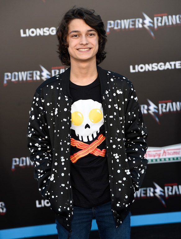 ". Rio Mangini arrives at the Los Angeles premiere of Saban\'s ""Power Rangers\"" at the Regency Westwood Village Theatre on Wednesday, March 22, 2017. (Photo by Chris Pizzello/Invision/AP)"