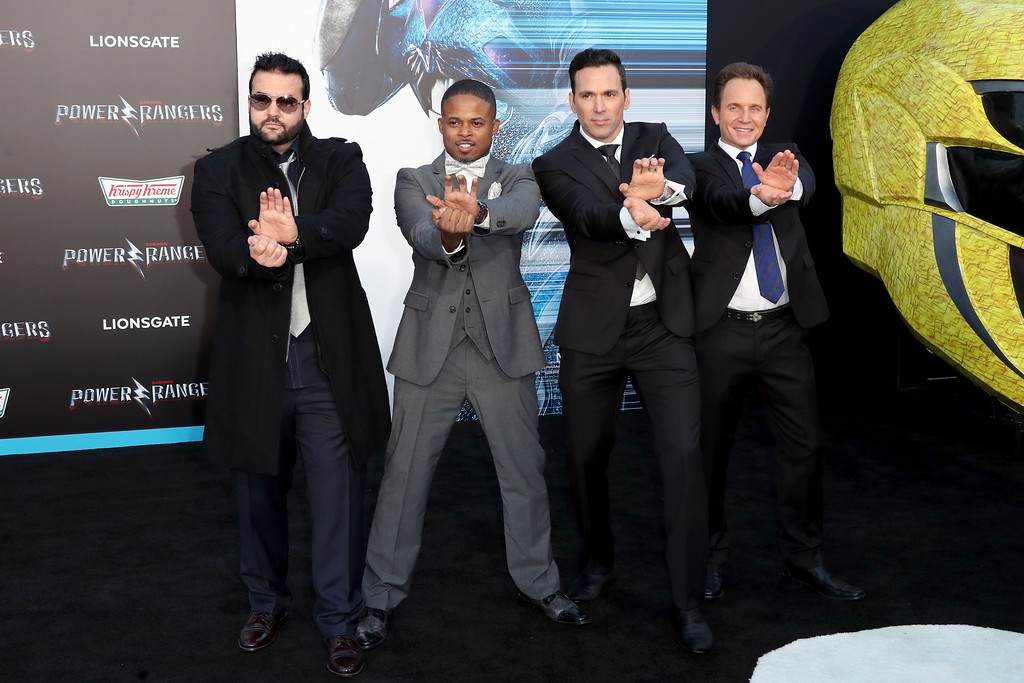 ". WESTWOOD, CA - MARCH 22:  (L-R) Actors Austin St. John, Walter Jones, Jason David Frank, and David Yost at the premiere of Lionsgate\'s ""Power Rangers\"" on March 22, 2017 in Westwood, California.  (Photo by Frederick M. Brown/Getty Images)"