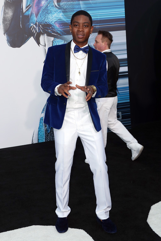 ". WESTWOOD, CA - MARCH 22:  Actor RJ Cyler at the premiere of Lionsgate\'s ""Power Rangers\"" on March 22, 2017 in Westwood, California.  (Photo by Frederick M. Brown/Getty Images)"