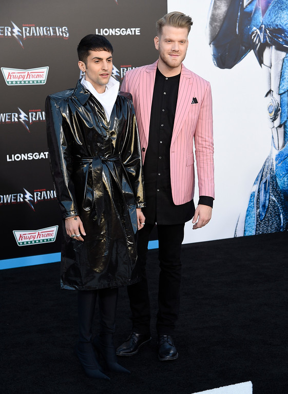 ". Mitch Grassi, left, and Scott Hoying, of Pentatonix, arrive at the Los Angeles premiere of Saban\'s ""Power Rangers\"" at the Regency Westwood Village Theatre on Wednesday, March 22, 2017. (Photo by Chris Pizzello/Invision/AP)"