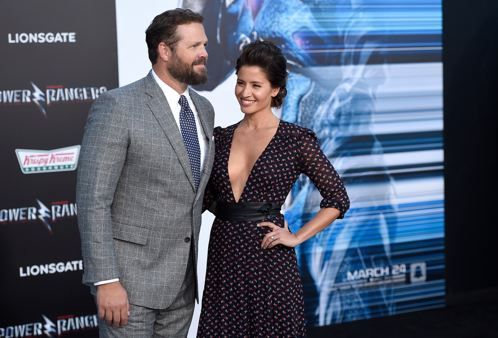 ". David Denman, left, and Mercedes Masohn arrive at the Los Angeles premiere of Saban\'s ""Power Rangers\"" at the Regency Westwood Village Theatre on Wednesday, March 22, 2017. (Photo by Chris Pizzello/Invision/AP)"
