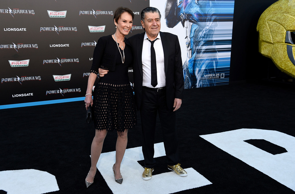 ". Haim Saban, right, and Cheryl Saban arrive at the Los Angeles premiere of Saban\'s ""Power Rangers\"" at the Regency Westwood Village Theatre on Wednesday, March 22, 2017. (Photo by Chris Pizzello/Invision/AP)"