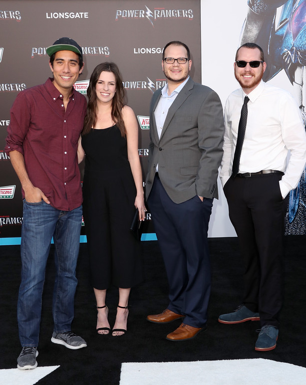 ". WESTWOOD, CA - MARCH 22:  Internet personality Zach King (L) and guests at the premiere of Lionsgate\'s ""Power Rangers\"" on March 22, 2017 in Westwood, California.  (Photo by Frederick M. Brown/Getty Images)"