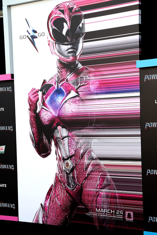 ". WESTWOOD, CA - MARCH 22:  Movie posters are seen at the premiere of Lionsgate\'s ""Power Rangers\"" on March 22, 2017 in Westwood, California.  (Photo by Frederick M. Brown/Getty Images)"