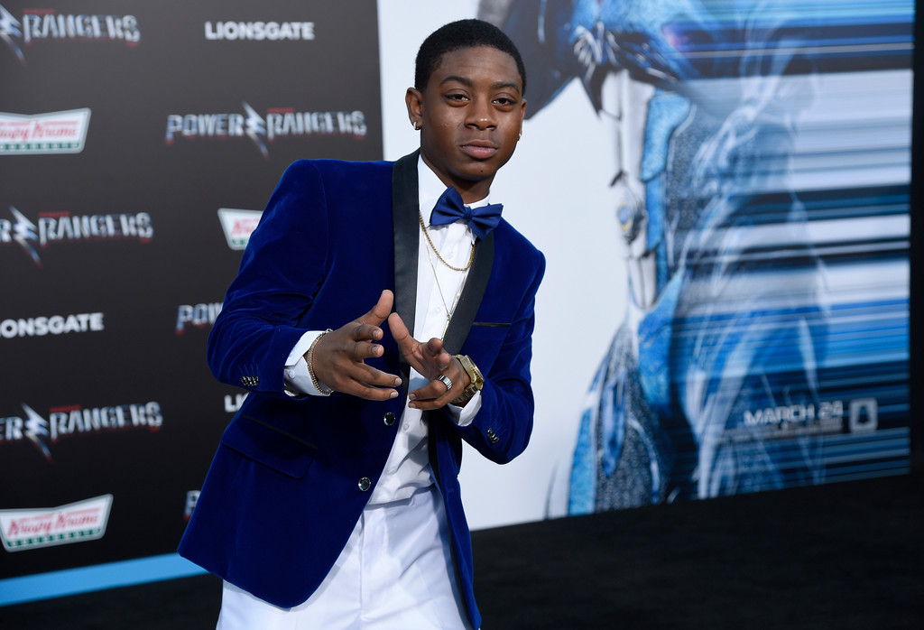 ". RJ Cyler arrives at the Los Angeles premiere of Saban\'s ""Power Rangers\"" at the Regency Westwood Village Theatre on Wednesday, March 22, 2017. (Photo by Chris Pizzello/Invision/AP)"