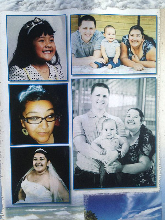 . Family photos of Aurora Godoy of Carson, one of the 14 victims killed in the San Bernardino mass shooting are shown during today\'s funeral services. (Staff photo by Brad Graverson/Los Angeles News Group)