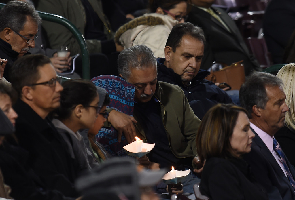 . Thousands attend the San Bernardino Candlelight Vigil at San Manuel Stadium in San Bernardino, CA., Thursday, December 3, 2015. (Photo by Jennifer Cappuccio Maher/The Sun)