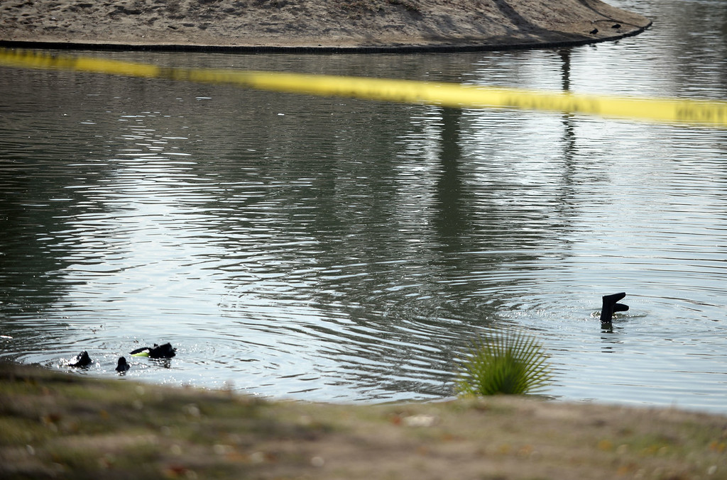 . Members of the FBI Underwater Search and Evidence Response Team and bomb techs work Seccombe Lake on Thursday, December 10, 2015 in San Bernardino, Ca. (Micah Escamilla/The Sun)