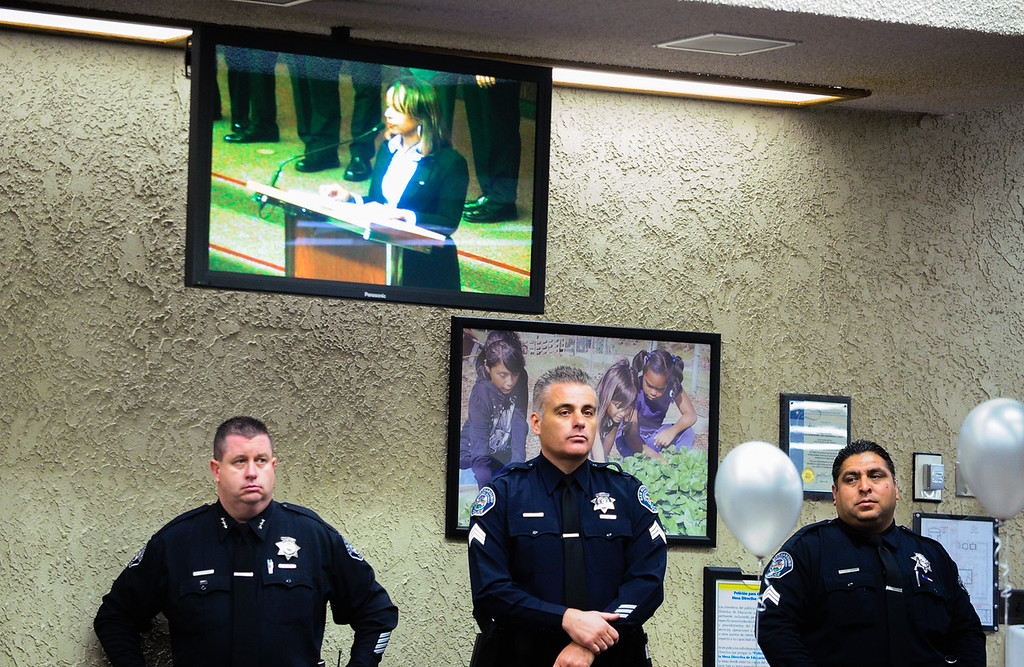. San Bernardino City Unified School District police officers, campus security officers and support staff who aided in the Dec. 2 mass shooting aftermath are recognized by school board members at the San Bernardino City Unified School District on Tuesday, Jan. 19, 2016. (Photo by Rachel Luna/The Sun)