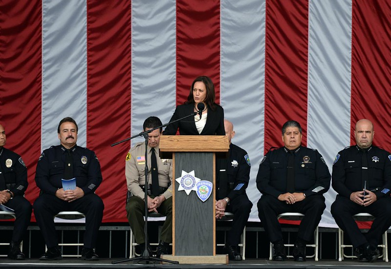 . Attorney General Kamala Harris speaks as first responders are honored for their bravery during the December 2 terrorist attack at the Inland Regional Center in San Bernardino during an awards ceremony held on Thursday, April 14, 2016 in at San Manuel Amphitheater in San Bernardino, Ca. (Micah Escamilla/The Sun)