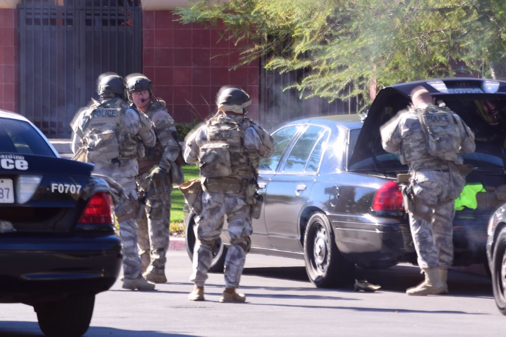 . Authorities in San Bernardino have responded to an active shooter situation near the Inland Regional Center where city fire officials say 15 to 20 people have been wounded. (Doug Saunder, staff / The Sun, Los Angeles News Group)