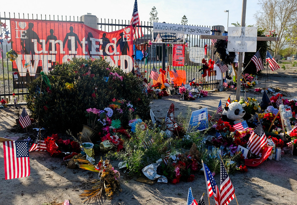 . The Dec. 2 San Bernardino shooting memorial site continues to remain nearby the Inland Regional Center in San Bernardino, CA on Wednesday, March 2, 2016. March 2 marked the three-month anniversary of the mass shooting at the Inland Regional Center. (Photo by Rachel Luna/The Sun)