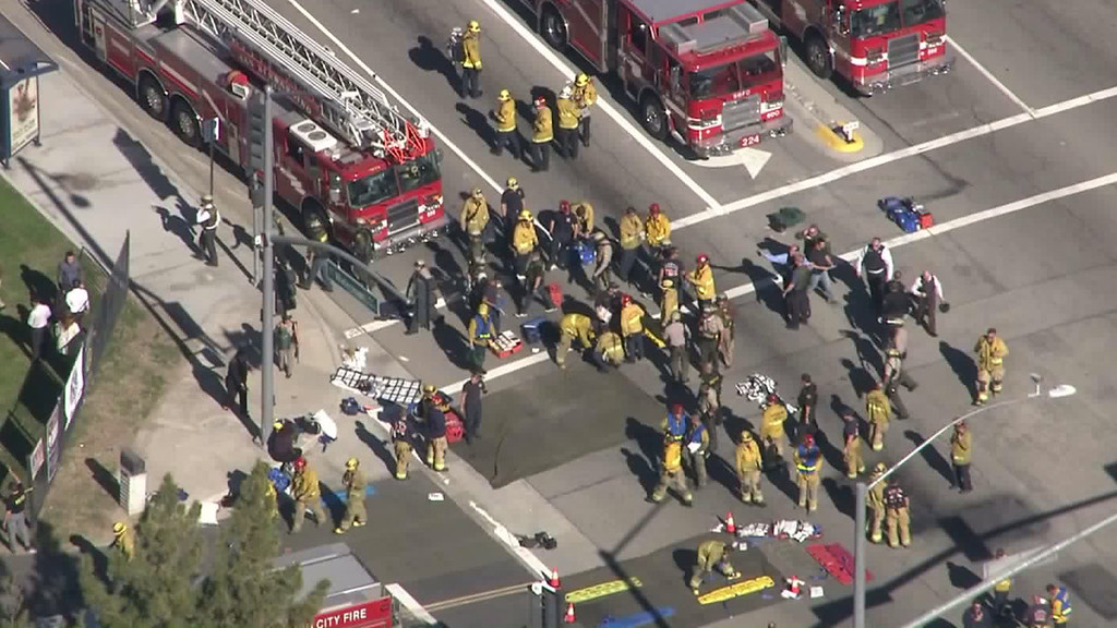 . Authorities in San Bernardino have responded to an active shooter situation near the Inland Regional Center where city fire officials say 15 to 20 people have been wounded. (Photo by KTLA)