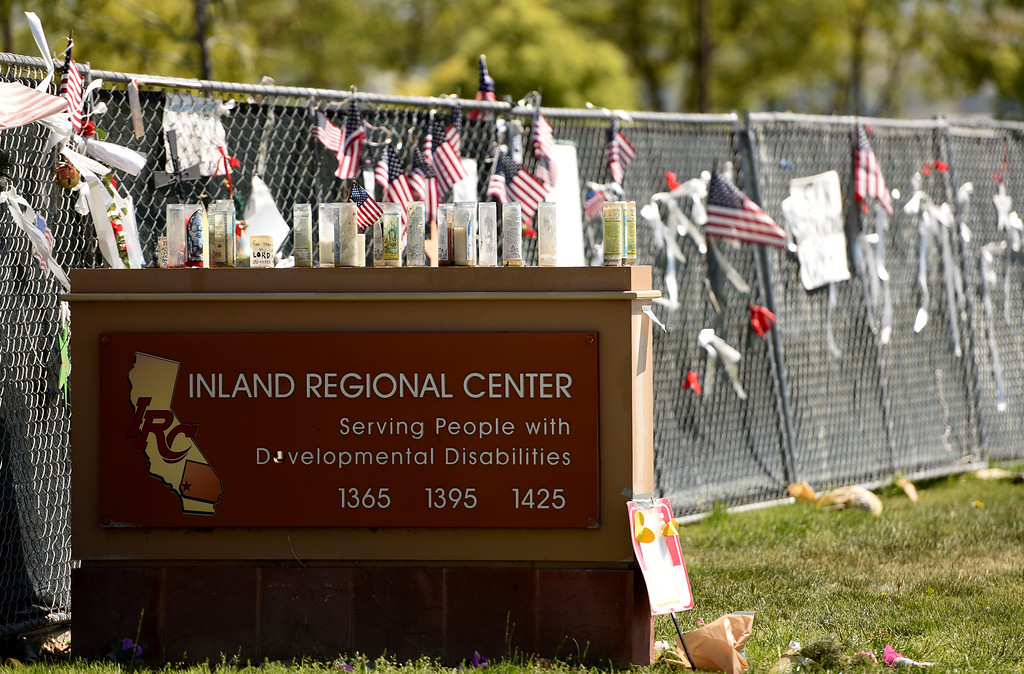 . Four months following the Decemeber 2 attack at the Inland Regional Center in San Bernardino, the constant presence of a memorial is a reminder of the deadly shooting that left 14 people dead and twice as many injured at the hands of Syed Rizwan Farook and Tashfeen Malik. The pair were killed later that same day in a shoot out with police. (Staff photo by Rick Sforza/The Sun)