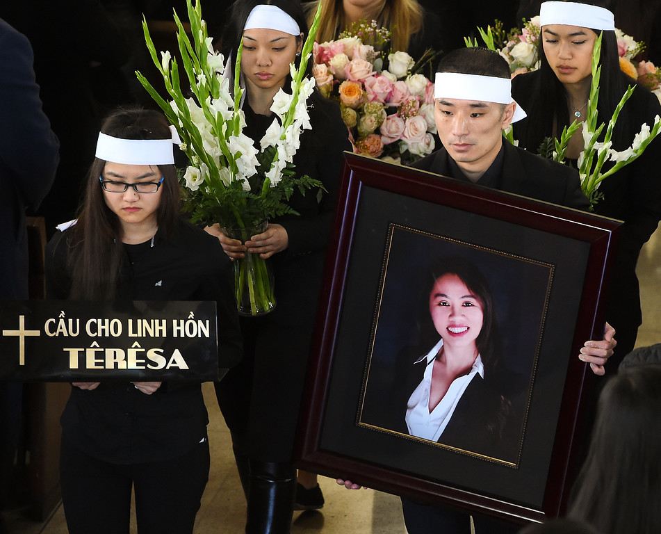 . Hansin Trihn, fiancee of Tin Nguyen holding a photo Tin Nguyen Tin Nguyen, 31-year-old food inspector for the San Bernardino County Department of Health, died Wednesday, December 2, 2015 in the mass shooting at Inland Regional Center in San Bernardino. Nguyen was engaged to Hansin Trinh. The couple was set to marry in 2016. Funeral services: are scheduled were held at Church of Saint Barbara in Santa Ana and burial was held at Good Shepherd Cemetery, Huntington Beach (Photo by Walt Mancini/Pasadena Star-News)