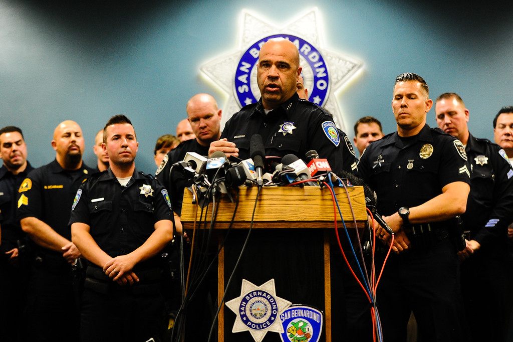 . San Bernardino Police Chief Jarrod Burguan praises first responders for their heroic efforts in the San Bernardino mass shooting during a press conference at the San Bernardino Police Department in San Bernardino, CA on Tuesday, Dec. 8, 2015. (Photo by Rachel Luna/The Sun)