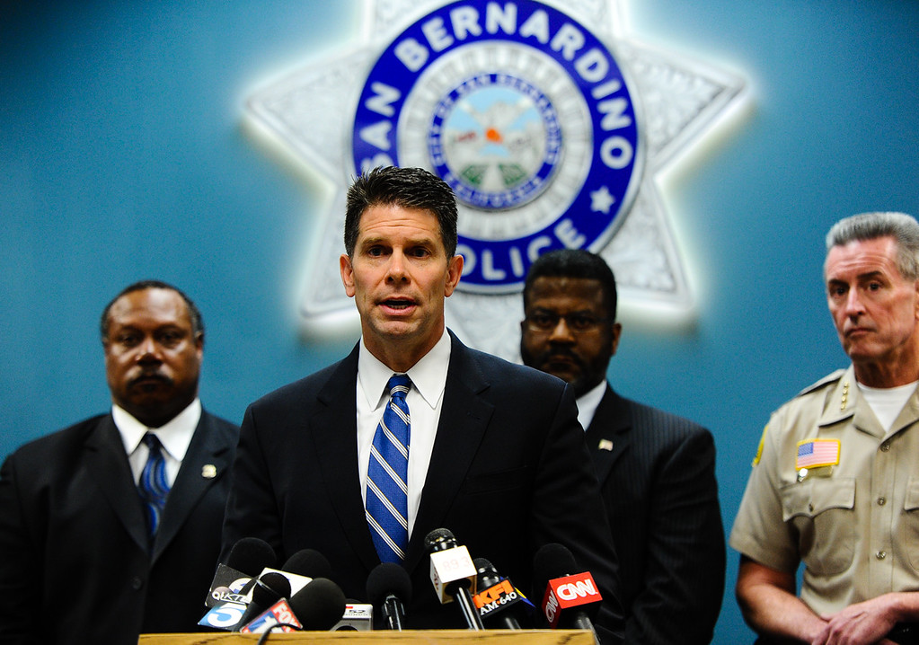. The FBI and local authorities seek the public\'s help in filling in a missing 18 minutes of the Dec. 2 San Bernardino shooters\' timeline during a press conference held at the San Bernardino Police Department on Tuesday, Jan. 5, 2016. Investigators are trying to fill in the missing timeline gap of what shooters Syed Rizwan Farook and Tashfeen Malik did on the day of the deadly attack at the Inland Regional Center on Dec. 2 in San Bernardino. (Photo by Rachel Luna/San Bernardino Sun)