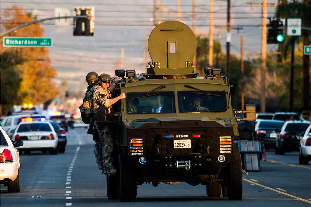 . SWAT team at the scene after the shootout between San Bernardino Police and the suspects near the intersection of Richardson St. and San Bernardino Ave. in San Bernardino, Calif. on Wednesday, Dec. 2, 2015.  Two suspects were believed killed or wounded, and a third possibly remained on the loose, following an exchange of gunfire near the scene of a mass shooting at the Inland Regional Center in San Bernardino.(Photo by Watchara Phomicinda/ Los Angeles News Group)