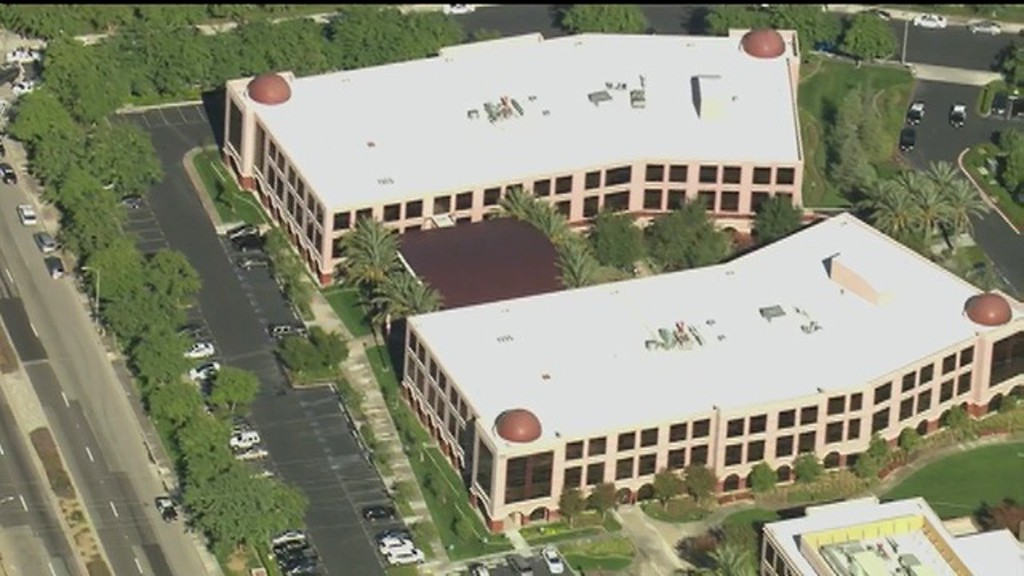 . This aerial view shows a Southern California social services center in San Bernardino, Calif.,  where authorities said multiple people were shot Wednesday, Dec. 2, 2015. (KTTV via AP) TV OUT