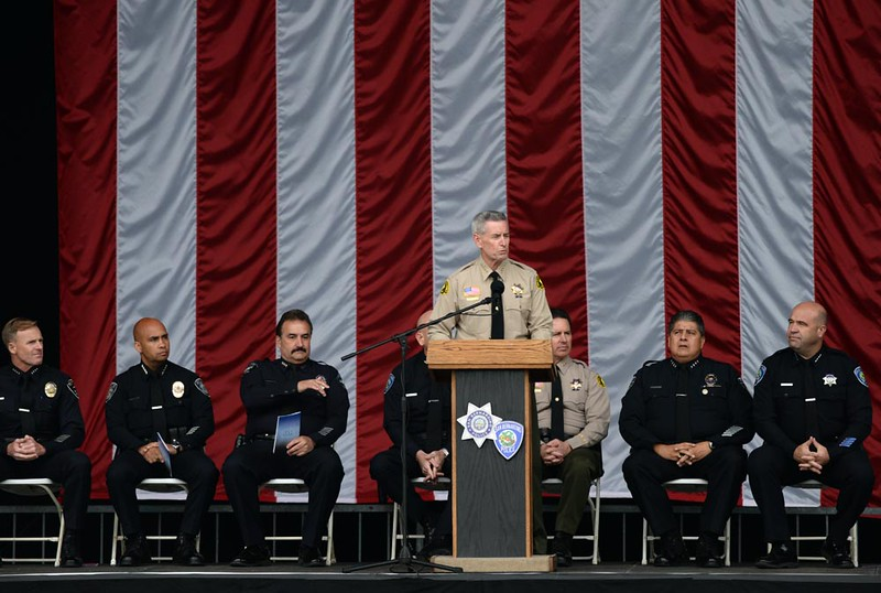 . First responders are honored for their bravery during the December 2 terrorist attack at the Inland Regional Center in San Bernardino during an awards ceremony held on Thursday, April 14, 2016 in at San Manuel Amphitheater in San Bernardino, Ca. (Micah Escamilla/The Sun)
