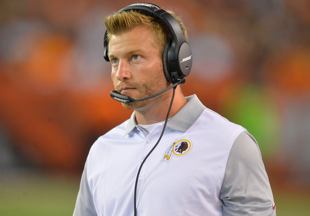 . Washington Redskins offensive coordinator Sean McVay stands on the sideline during an NFL preseason football game against the Cleveland Browns, Thursday, Aug. 13, 2015, in Cleveland. McVay, hired by the Rams, is the youngest coach in NFL history. (AP Photo/David Richard)