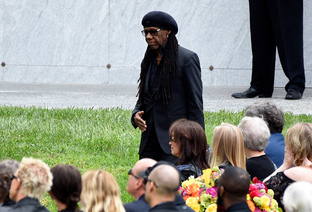 . Nile Rodgers attends a memorial service for Chris Cornell at the Hollywood Forever Cemetery on Friday, May 26, 2017, in Los Angeles. (Photo by Chris Pizzello/Invision/AP)