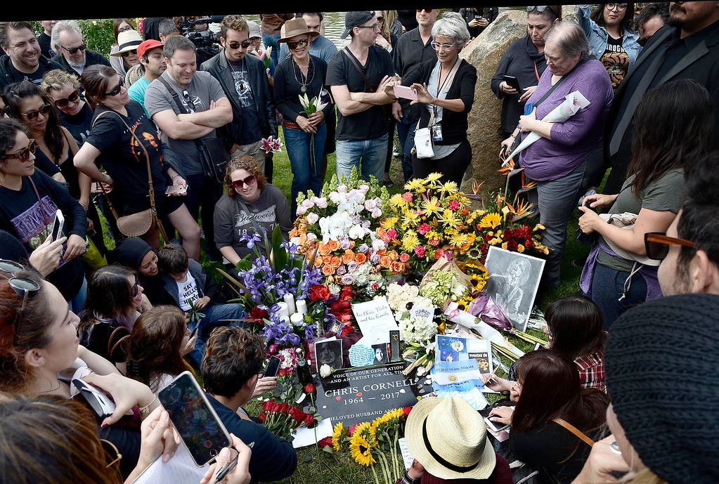 . The public crowds around the grave site for Chris Cornell after a memorial service was held at Hollywood Forever Cemetary. The iconic rocker hanged himself in a Detroit hotel room earlier this month. Los Angeles, CA. 5/26/2017 Photo by John McCoy/Los Angeles Daily News (SCNG)