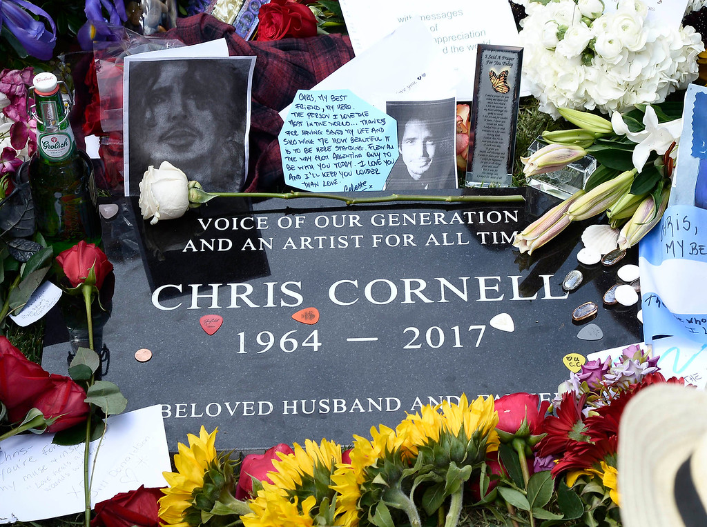 . The public was allowed to pay respects at the grave site after a memorial service was held at Hollywood Forever Cemetary for Chris Cornell, the iconic rocker who hanged himself in a Detroit hotel room earlier this month. Los Angeles, CA. 5/26/2017 Photo by John McCoy/Los Angeles Daily News (SCNG)