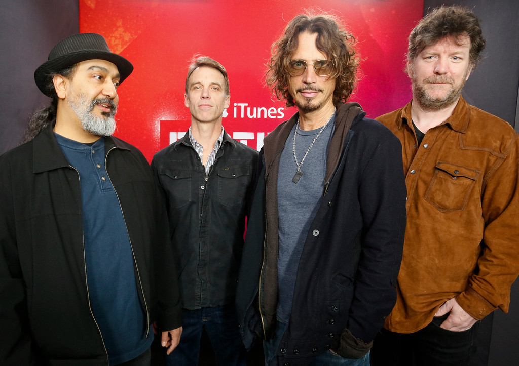 . Soundgarden\'s  Kim Thayil, Matt Cameron, Chris Cornell and Ben Shepherd, from left, pose for a photograph at the iTunes Festival showcase during the SXSW Music Festival on Thursday, March 13, 2014, in Austin, Texas. (Photo by Jack Plunkett/Invision/AP)
