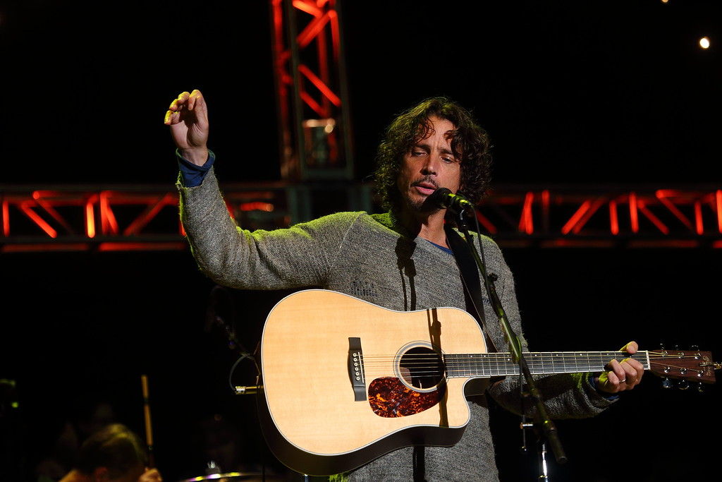 . Chris Cornell and Soundgarden perform at the 2014 Bridge School Benefit at the Shoreline Amphitheatre in Mountain View California on Saturday, October 25, 2014. (Photo by John Davisson/Invision/AP)