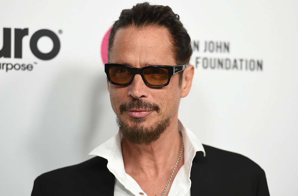 . FILE - In this March 25, 2017 file photo, Chris Cornell arrive at Elton John\'s 70th Birthday and 50-Year Songwriting Partnership with Bernie Taupin in Los Angeles. Cornell, 52, who gained fame as the lead singer of the bands Soundgarden and Audioslave, died at a hotel in Detroit and police said Thursday, May 18, 2017, that his death is being investigated as a possible suicide. (Photo by Jordan Strauss/Invision/AP, File)