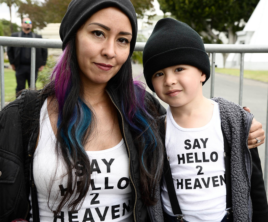 . Melody and Jude,4, Andrade wait to pay their respects. A memorial service was held at Hollywood Forever Cemetary for Chris Cornell, the iconic rocker who hanged himself in a Detroit hotel room earlier this month. Los Angeles, CA. 5/26/2017 Photo by John McCoy/Los Angeles Daily News (SCNG)