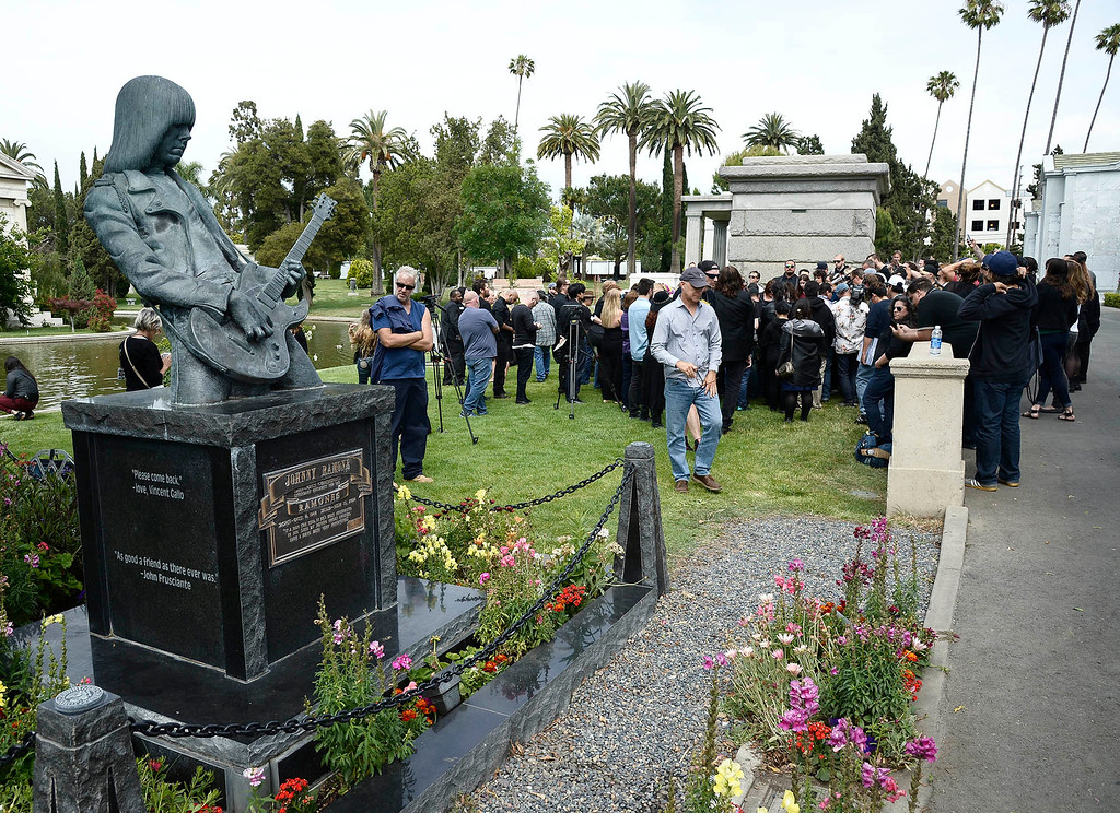 . A statue of Johnny Ramone looks over the area where a ceremony was held for Chris Cornell on May 26, 2017 in Los Angeles, CA. (Photo by John McCoy, Los Angeles Daily News/SCNG)