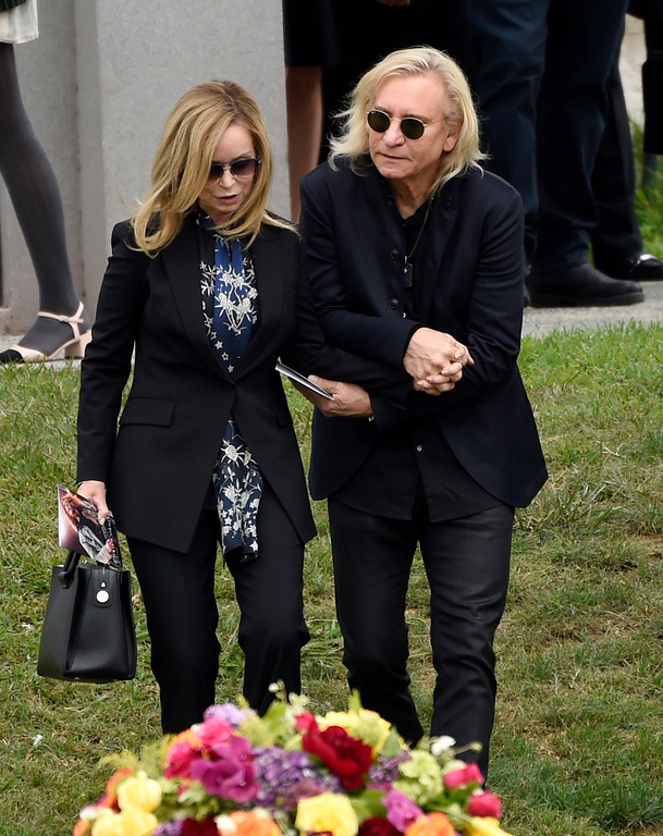 . Musician Joe Walsh, right, and Marjorie Bach attend a funeral for Chris Cornell at the Hollywood Forever Cemetery on Friday, May 26, 2017, in Los Angeles. (Photo by Chris Pizzello/Invision/AP)