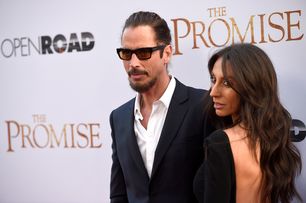 """. Chris Cornell, left, and Vicky Karayiannis arrive at the U.S. premiere of \""""The Promise\"""" at the TCL Chinese Theatre on Wednesday, April 12, 2017, in Los Angeles. (Photo by Chris Pizzello/Invision/AP)"""